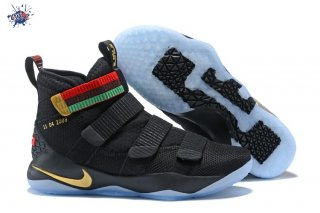 Meilleures Nike Lebron Soldier XI 11 Bhm Noir Or Rouge Vert