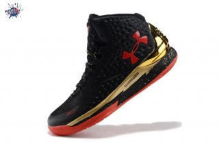 Meilleures Under Armour Curry 1 Noir Or Rouge