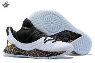 Meilleures Under Armour Curry 5 Low Noir Blanc Or
