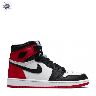 "Meilleures Air Jordan 1 Femme ""Satin Black Toe"" Noir Rouge Blanc (CD0461-016)"