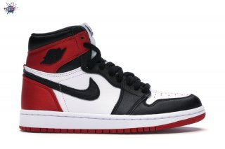 "Meilleures Air Jordan 1 High Retro Femme ""Satin Black Toe"" Noir Rouge Blanc (CD0461-016)"