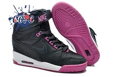 Meilleures Nike Air Revolution Sky High Wedge Sneakers Noir Pourpre (599410-001)